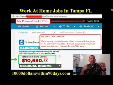 work from home ta fl make 10 000 dollars within