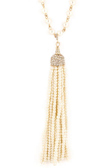 beaded tassel necklace beaded acrylic pearl tassel pave necklace necklaces