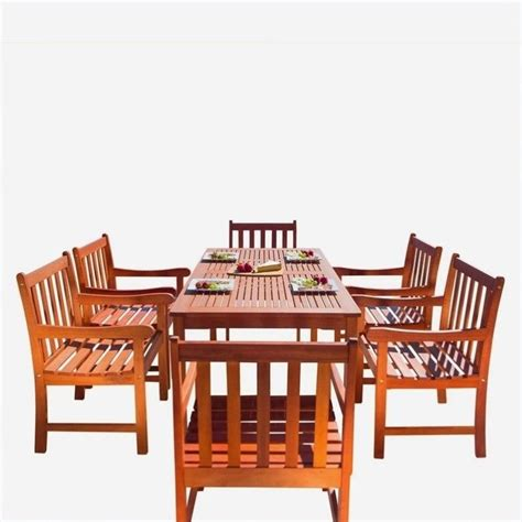 Wood Patio Dining Set 7 Wood Patio Dining Set V98set12