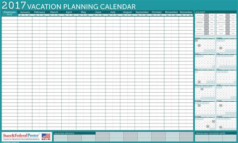 vacation planning calendar template office wall 2017 vacation planner turquoise 40 x 24 inches