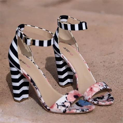 black and white patterned heels fun ladylike floral print striped sandals