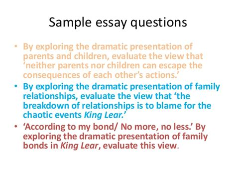 And Relationship Essay by Family Relationships In Lear