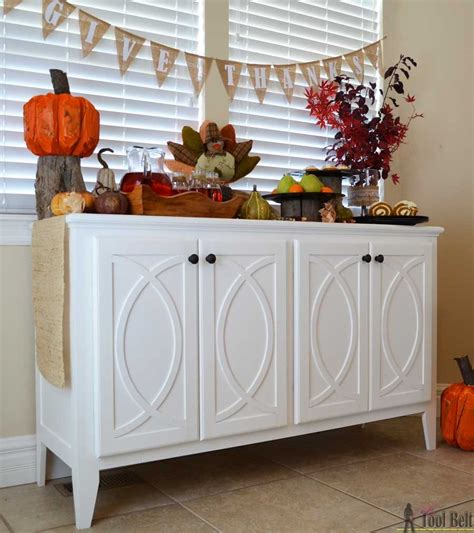 kitchen buffet storage cabinet diy buffet sideboard with circle trim doors tool belt