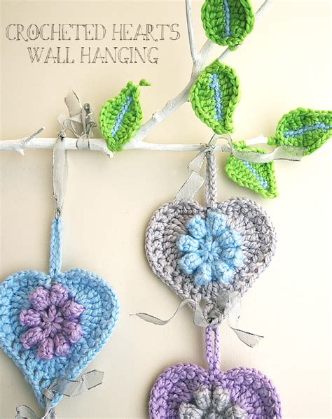 free pattern wall hanging crocheted hearts wall hanging on a limb creative jewish mom