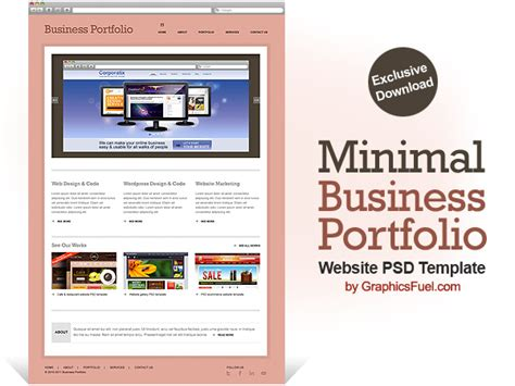business portfolio template minimal business portfolio website psd template graphicsfuel