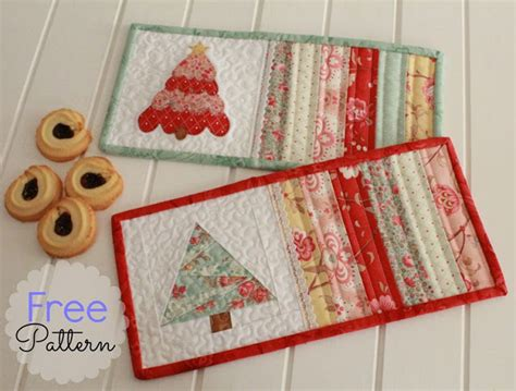 christmas tree mug rug pattern free pattern christmas mug rugs threadbare creations