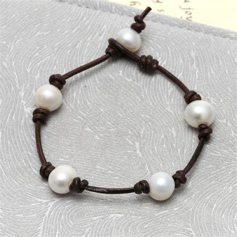 Handmade Leather Jewellery - aobei pearl 10 11mm freshwater pearl bracelet nature