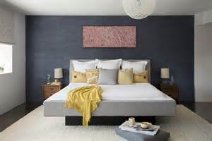 Accent wall gray bedroom midcentury with black headboard en suite gray