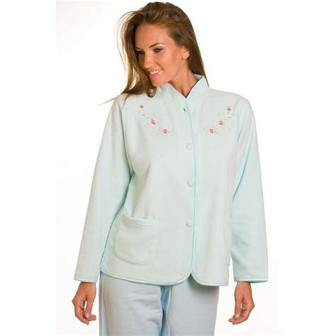 womens bed jacket ladies camille turquoise embroidered fleece womens night