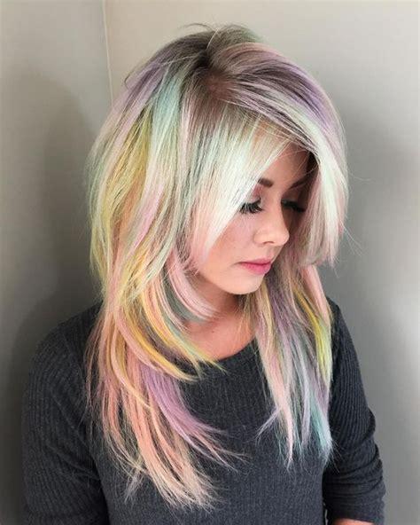 pastel rainbow hair blonde and pastel rainbow hair with pravana redbloom