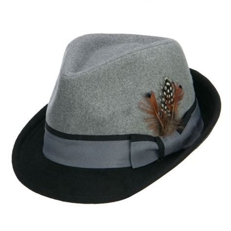 Imported Feather Fedora 4 Fedora Grey Two Tone Fedora With Feather E4hats