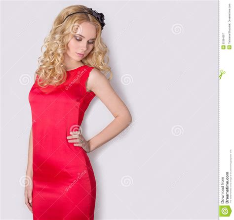 blonde bob red dress beautiful blond girl in red long evening dress with