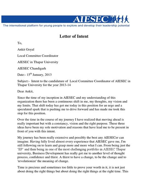Letter Of Intent Sle Shifting Course Ayush Jaiwal By Ankit Goyal Issuu