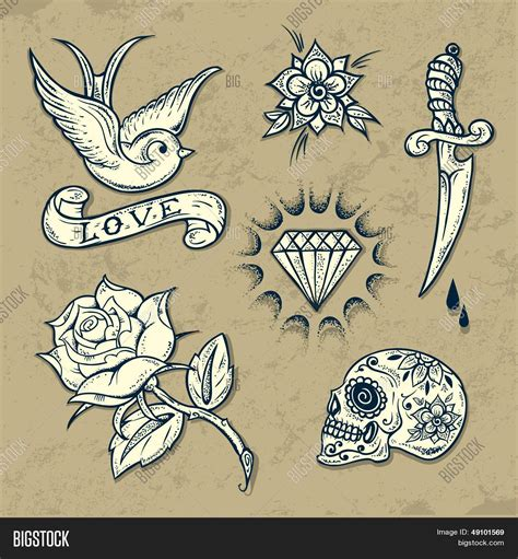 set old tattoo elements vector amp photo bigstock