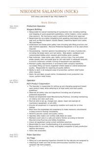 Production Operator Resume by Production Operator Resume Sles Visualcv Resume Sles Database