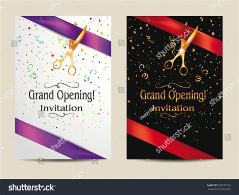 grand opening invitation cards confetti stock vector