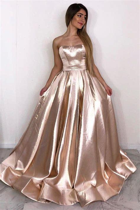 strapless rose gold   long simple prom dress okk