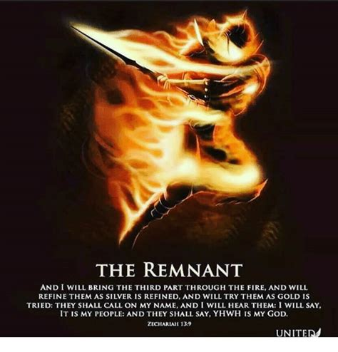 the remnant on the the remnant and i will bring the third part through the fire and will refine them as silver is