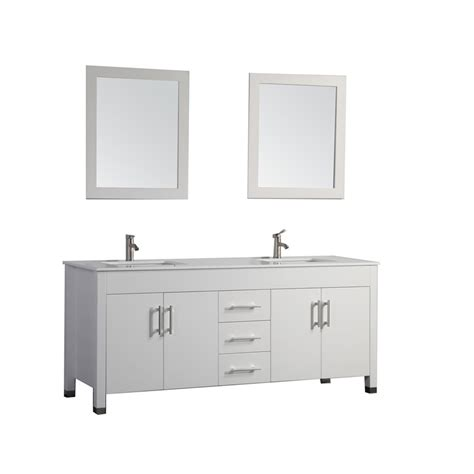 84 Bathroom Vanity Shop Mtd Vanities White Undermount Sink Bathroom Vanity With Engineered Top Common