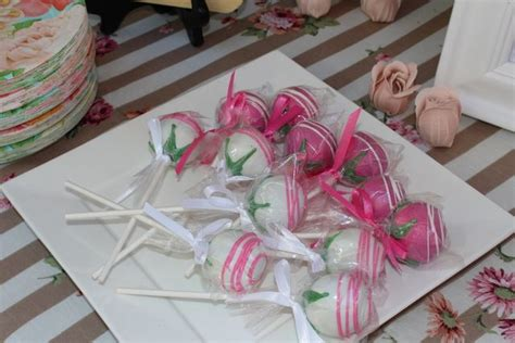 rose themed party supplies cake pops at a rose party rose cakepops garden party