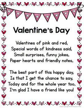 valentines day poem cloze activity  minibook english