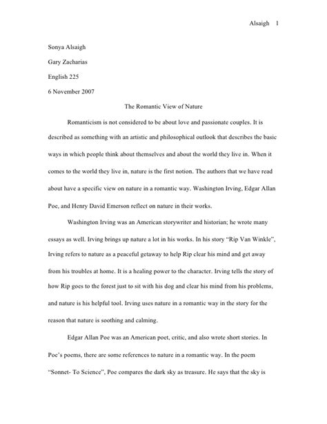 Essays On The Of Nature by View Of Nature Essay