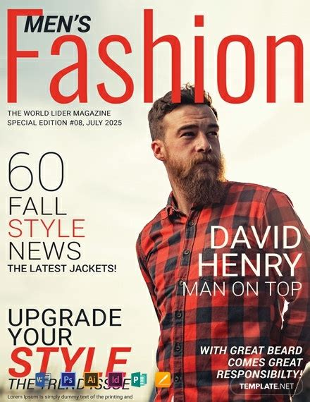 mens fashion magazine cover template word