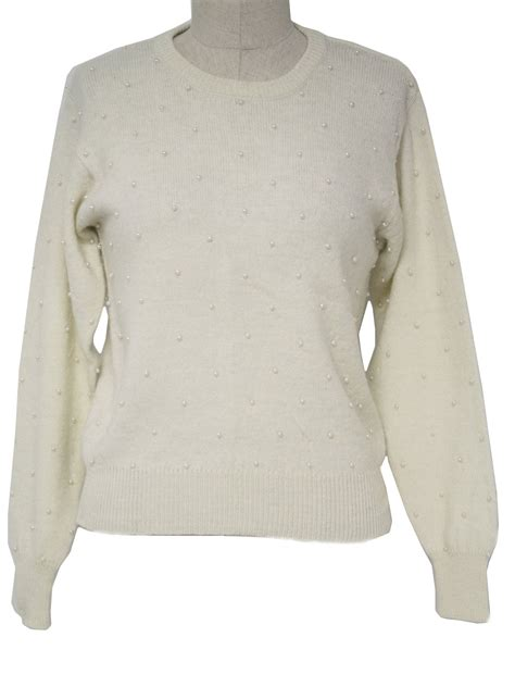 Sweater White retro 1960s sweater 60s andrea gayle womens winter white soft acrylic blend sleeve pull