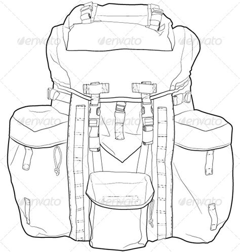 Military Hiking Backpack Outline By Only4denn Graphicriver Backpack Design Template