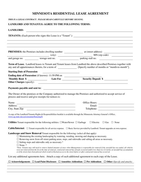 Free Minnesota Association Of Realtors Residential Lease Agreement Pdf Eforms Free Mn Purchase Agreement Template
