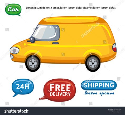yellow light delivery service yellow delivery service van vehicle stock vector 304482197