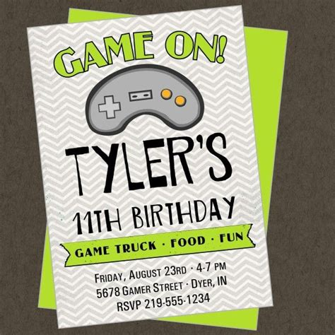 free printable xbox birthday invitations game truck printable invitation video gamer jayden s 8th
