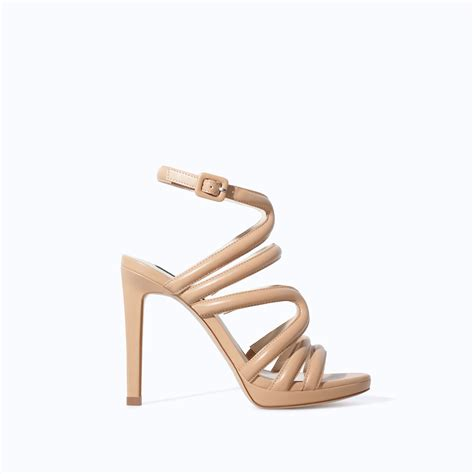 strappy sandals zara heeled strappy sandals in lyst