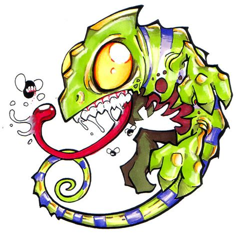 new school cartoon tattoo designs new school chameleon design