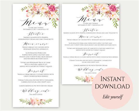 menu writing template wedding menu template 5x7 4x9 wedding menu cards menu