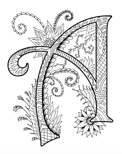 coloring books for zentangles alphabet coloring book for adults and children