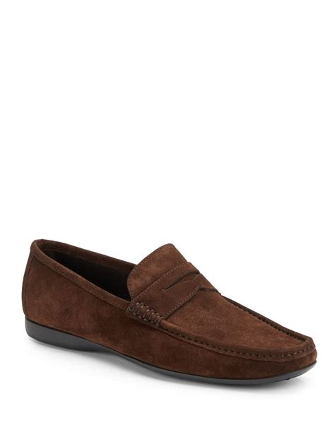 bruno magli suede loafers bruno magli partie suede loafers in brown for