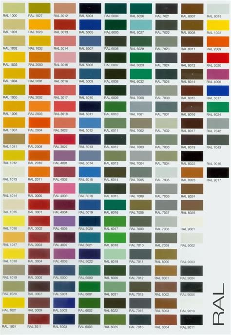 color chart ral colour chart