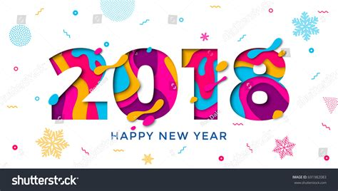 new year 2018 color 2018 happy new year greeting stock vector