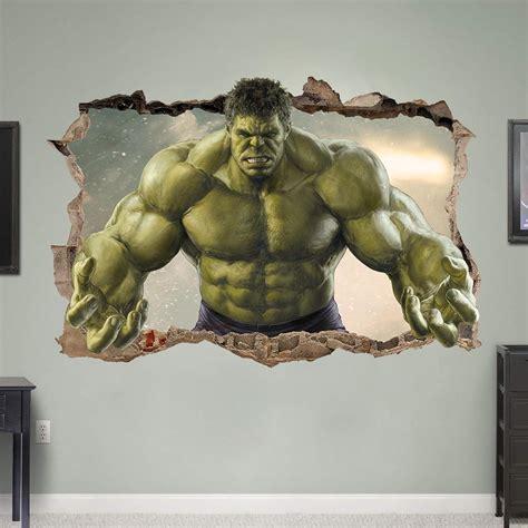 marvel hulk avengers 3d window view wall stickers art hulk smashed 3d wall sticker bedroom kids avengers art