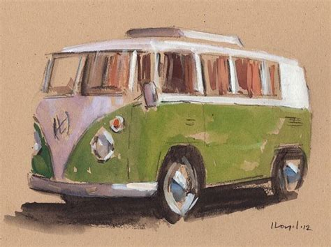 hippie volkswagen drawing original painting vw hippie retro vintage auto kombi