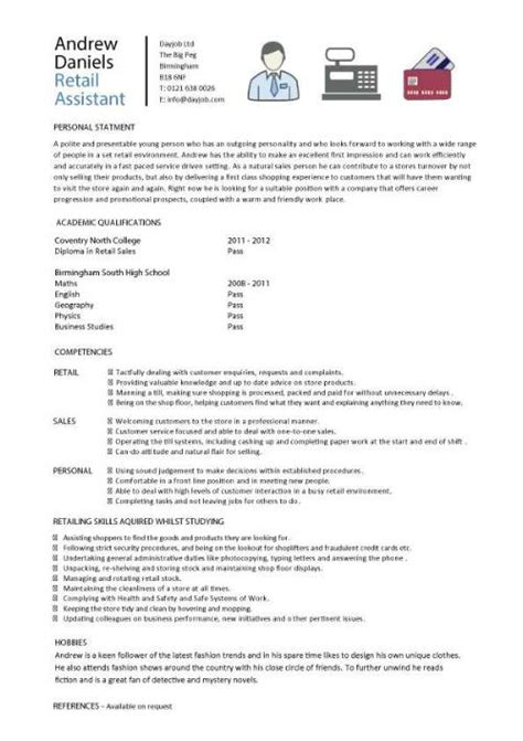 Retail Experience Resume by Retail Cv Template Sales Environment Sales Assistant Cv