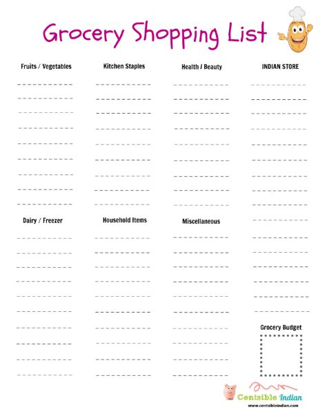 free printable indian grocery list printable grocery shopping list centsible indian