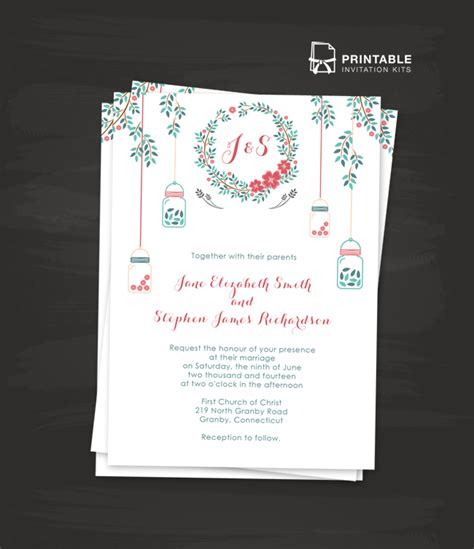 floral wreath and mason jar wedding invitation wedding