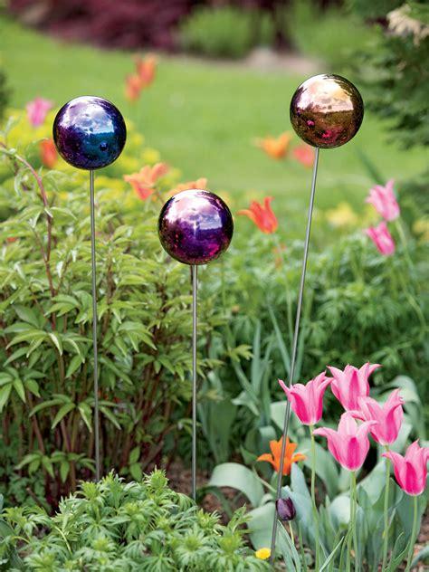 gazing ball stake single garden art