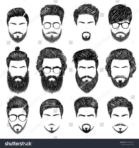 cute hairstyles vector set mens hairstyles beards mustachesgentlmen haircuts