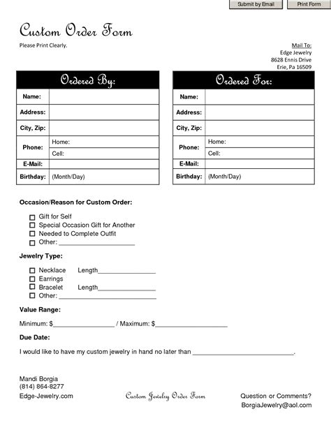 Free Printable Jewelry Order Forms | best photos of personalized monogram order form template