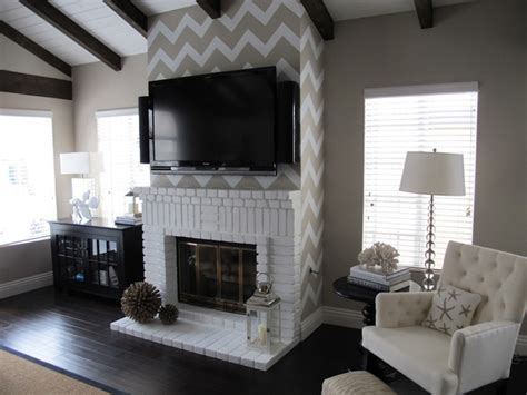 chevron stenciled wall transitional living room the