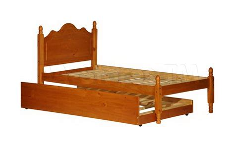 Platform Bed With Trundle 357 00 Reston Platform Bed With Trundle Honey Pine Beds 1