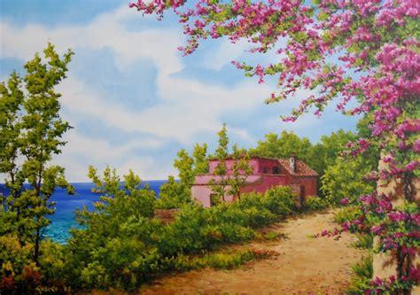 imagenes de paisajes florales im 225 genes arte pinturas paisajes de flores hermosas